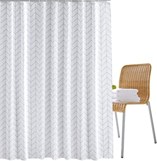 Wimaha Fabric Shower Curtain Liner Waterproof, Machine Washable, 100% Polyester, Perfect for Bathroom Stall Bathtub Tub, White Crossed Chevron, 72 x 72inch