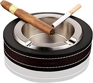 High-end Luxury Silver Cigar Ashtray, Stainless Leather Cigarette Cigar Ashtray for Indoor Outdoor use, Ash Holder for Cigar Cigarette, Fashion Round Leather Cigarette Ashtray-Kalolary