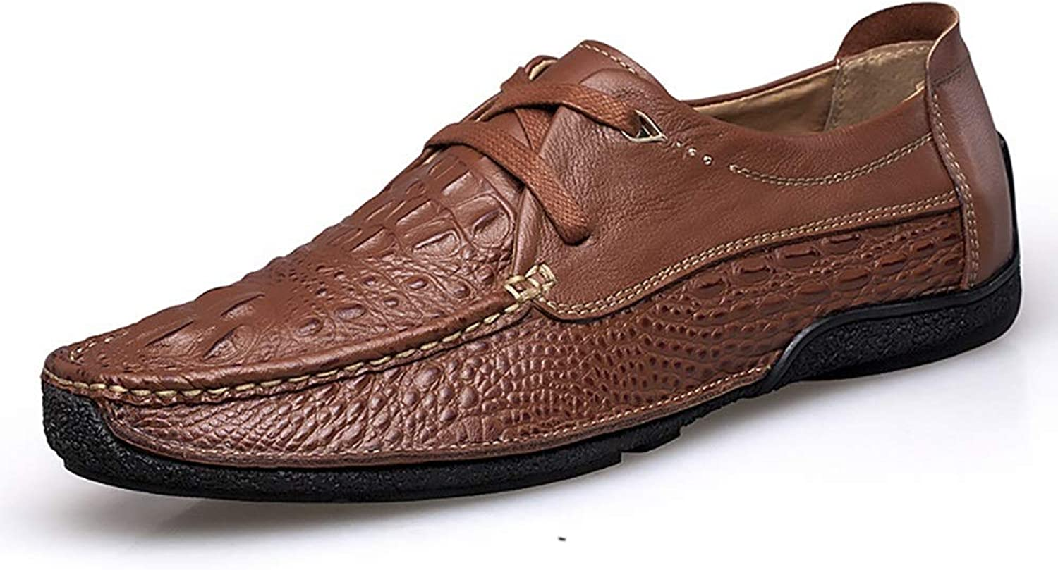 EGS-schuhe EGS-schuhe Driving Loafer for Men Stiefel Mokassins Schnürschuhe OX Leather Fashion Crocodile Texture Round Toe Schuhe,Grille Schuhe (Farbe   Light braun, Größe   40 EU)  Luxusmarke