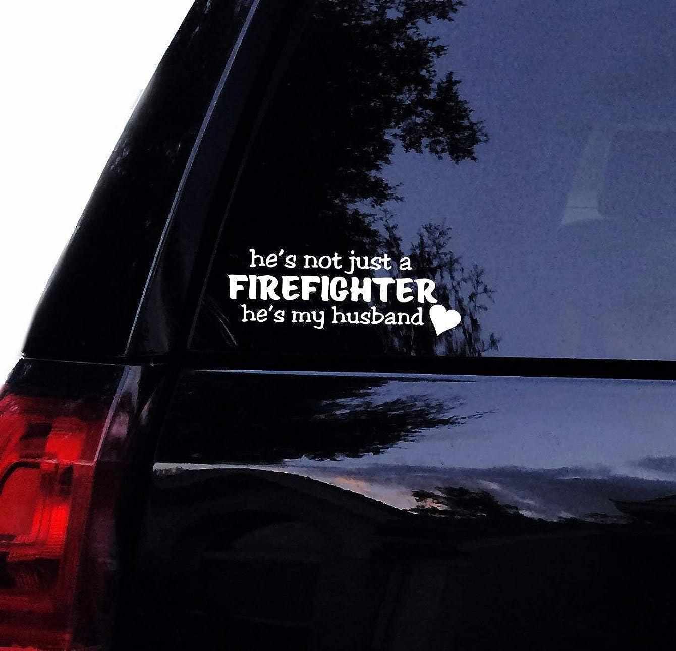 CELYCASY Fireman Fire Fighter Decal - He's Not just a Firefighter, He's My Husband Vinyl Car Decal Laptop Decal Car Window Wall Sticker
