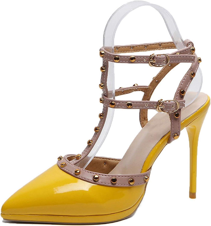 Kanyeah Sandals Pumps high Heels Studs Women shoes Rivets Ladies Nude Thin Heels t-Strap high Heels shoes