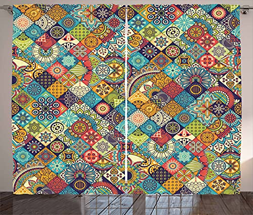 Ambesonne Bohemian Curtains, Geometric Pattern Ornamental Floral Folk Art Abstract, Living Room Bedroom Window Drapes 2 Panel Set, 108' X 84', Blue Cream