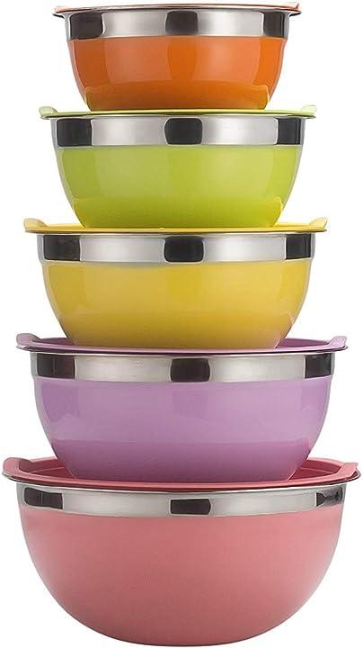 Set di 5 grandi ciotole da cucina impilabili-1.1, 1.6, 2.2, 2.8, 3.9 litri (multicolore) raking B07GZ8XXTG