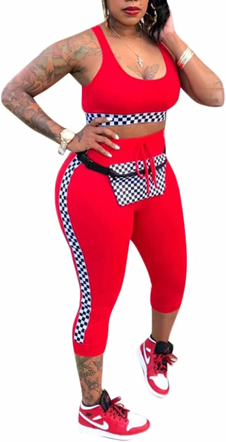 Adogirl Women's Sexy Checkered Bodycon 2 Piece Outfits Crop Top and Capri Pants