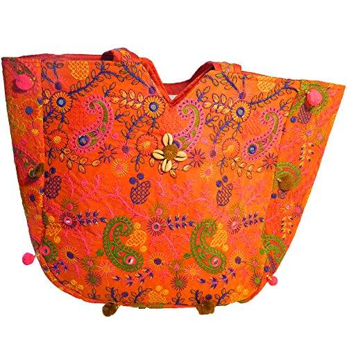 Preisvergleich Produktbild Indische Baumwolltasche bunt orange Paisley Stickereien Spiegel Tasche Accessoire