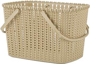 JQZLXXZL Basket Storage Basket, Bathroom Storage Basket (Beige, Light Brown, Dark Brown) Portable Bath Basket, Bath Basket (Color : Beige)