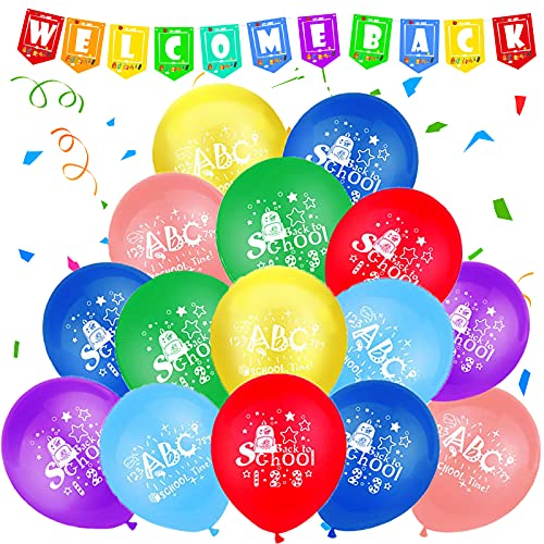 FORMIZON Decorazione Giorno di Scuola Set, Benvenuti Banner e 32 Palloncini ABC 123, Ritorno a Scuola Deco per Bambini Palloncini Colorati Classe Bentornato Decorazioni per Feste