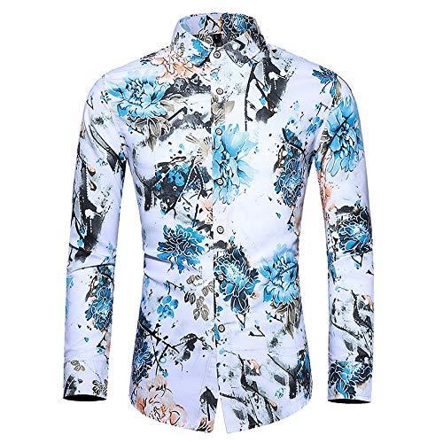 Camisas para Hombres Primavera y otoo Camisas Estampadas de Moda de Manga Larga para Negocios Europeos y Americanos Camisas para Hombres Ajustadas 5XL