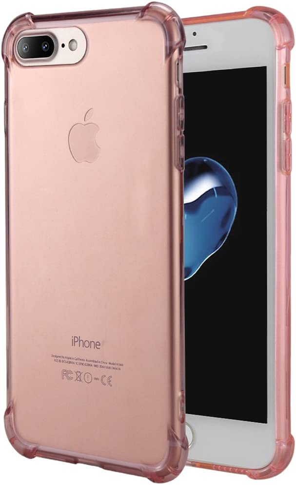 Matone for iPhone 7 Plus Case, for iPhone 8 Plus Case, Crystal Clear Shock Absorption Technology Bumper Soft TPU Cover Case for iPhone 7 Plus (2016)/iPhone 8 Plus (2017) - Clear Pink