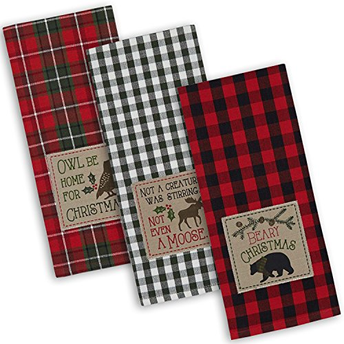 """DII Cotton Christmas Holiday Dish Towels, 18x28"""" Set of 3, Decorative Oversized Embroidered Kitchen Towels, Perfect Home and Kitchen Gift-Cabin Christmas"""