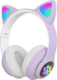 UXELY Audífonos inalámbricos para juegos para niñas, lindos auriculares de orejas de gato con luces LED, cancelación de ruido, auriculares estéreo para juegos de moda, Bluetooth 5.0 para niños y adultos
