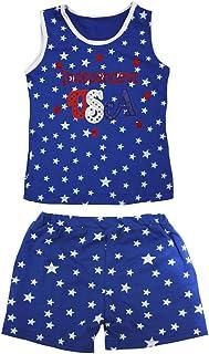 Petitebella Girls' Independent USA Patriotic Stars Cotton Shirt Short Set