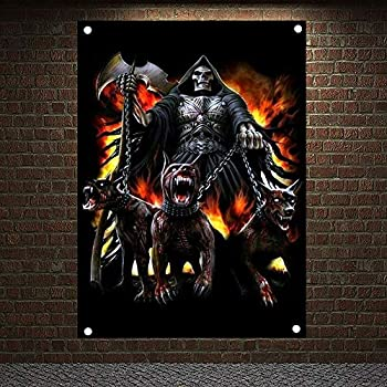 Grim Reaper Skeleton Banners Flags Skull Tattoo Posters Macabre Art 4-hole Wall Hanging Tapestry Bar Cafe Tattoo Studio Decor 144X96 CM  38X57 inches