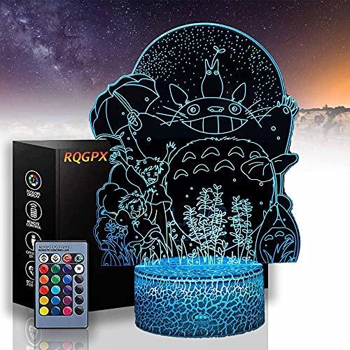 My Neighbour Totoro - Lámpara de luna 3D para niños, luces de noche para niñas, carga USB, lámpara de escritorio, regalo perfecto para cumpleaños, Navidad, para bebés, adolescentes y niños