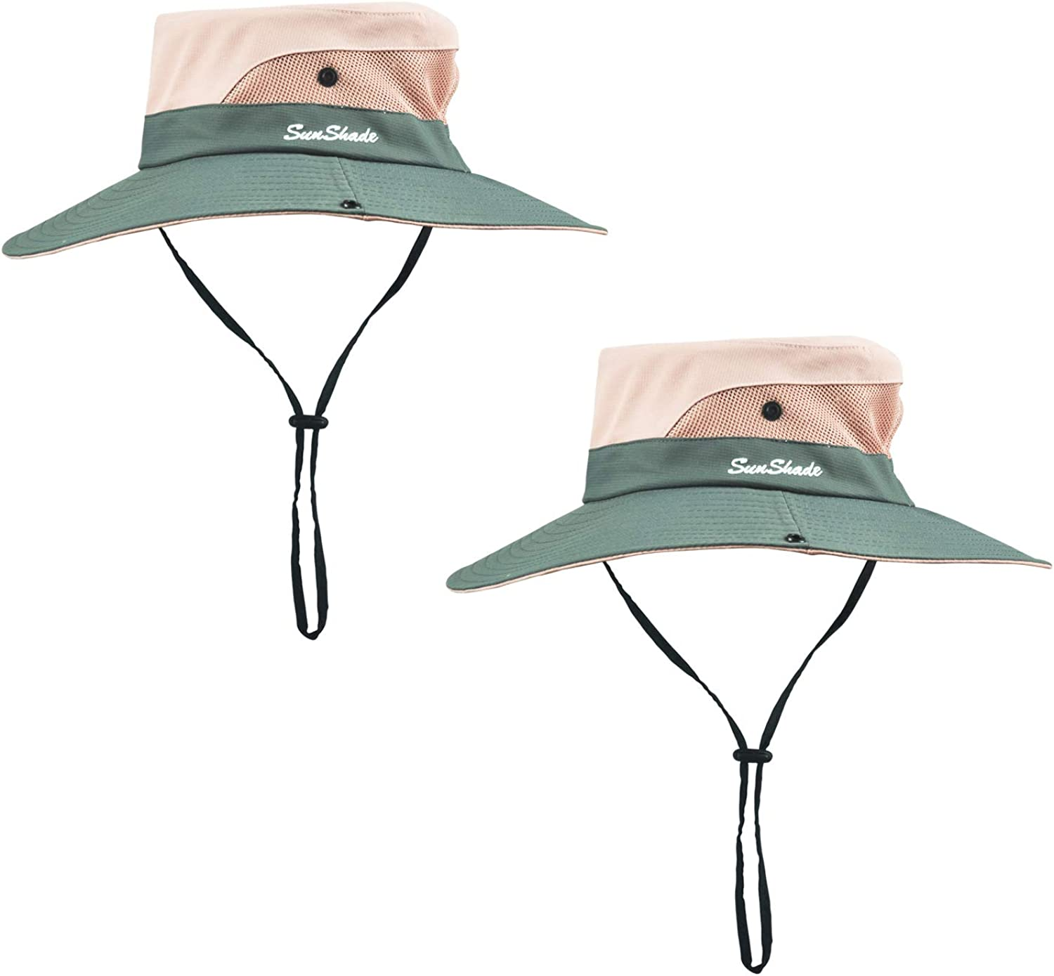 ELUTONG 2 Women Sun Boonie Outdoor Hats Wide Brimmed Mesh Beach Fishing Sun Hat