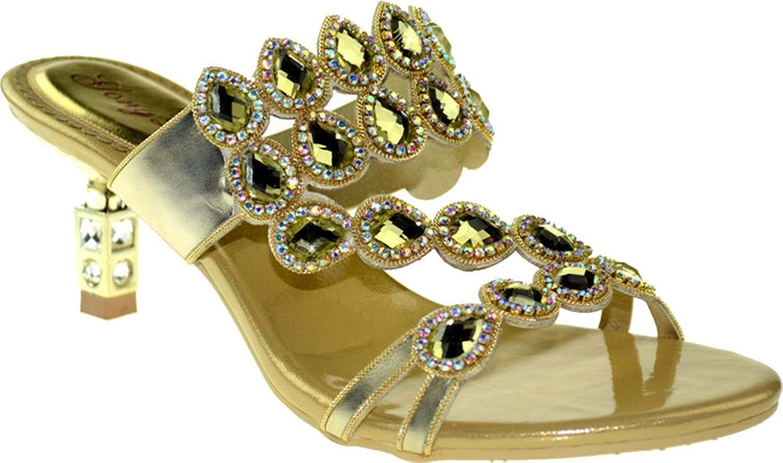 Vimedea AMN -T001 kvinnor bröllop Bride Rhinestone Mid Heel Heel Heel Slip på Sandaler  snabb frakt och bästa service