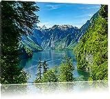 Blick auf den Königssee, Format: 80x60 auf Leinwand, XXL