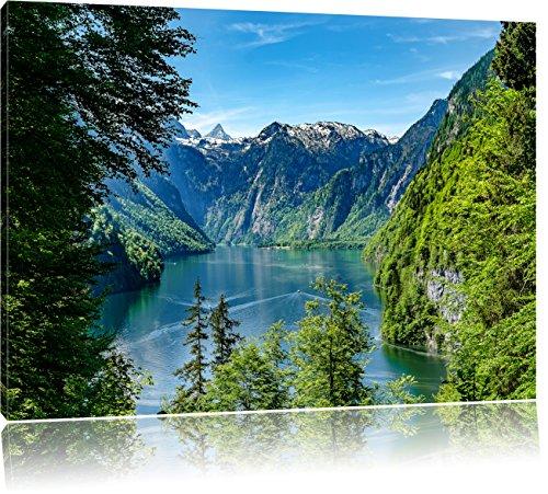 Blick auf den Königssee, Format: 120x80 auf Leinwand, XXL riesige Bilder fertig gerahmt mit Keilrahmen, Kunstdruck auf Wandbild mit Rahmen, günstiger als Gemälde oder Ölbild, kein Poster oder Plakat