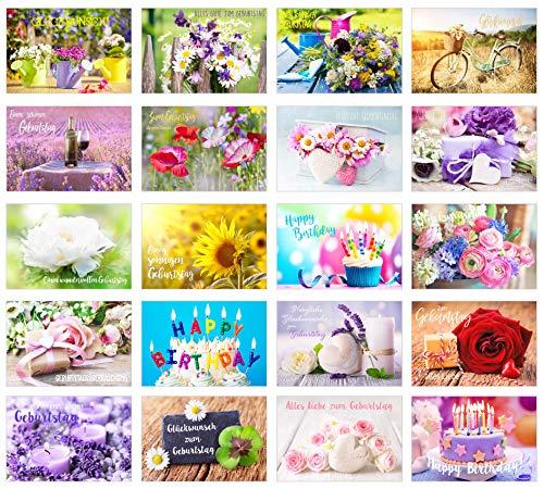 Edition Seidel Set 20 exklusive Premium Geburtstagskarten mit Briefumschlag. Glückwunschkarte Grusskarte Geburtstag Geburtstagskarte Mann Frau Karten Happy Birthday Billet Sprüche