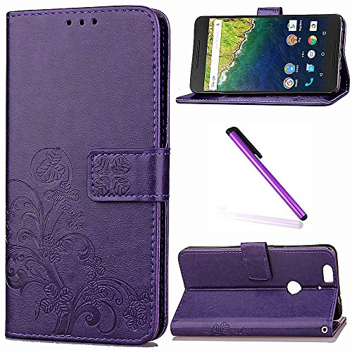 Huawei Nexus 6P Case, Google Nexus 6P Case LEECOCO Embossed Lucky Clover Floral with Card Cash Slots Wrist Strap Folio Flip Kickstand PU Leather Wallet Case Cover for Huawei Nexus 6P Clover Purple