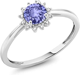 Gem Stone King 10K White Gold Blue Tanzanite and Diamond Women's Engagement Ring (0.46 Ct Round Cut, Available 5,6,7,8,9)