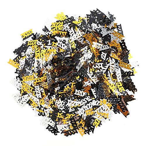 Mxzzand Lentejuelas Brillantes Reutilizables Simples y Elegantes Negro Oro Plata Nochevieja Confeti Embalaje de Regalo Decoraciones de Mesa Fiesta de año Nuevo