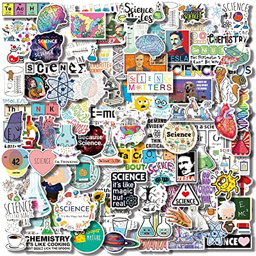 100 Pcs Natural Sciences Stickers Pack, Physics, Chemistry, Biology Experiment Vinyl Stickers, Student Science Laboratory Sticker Decals for Laptop, Water Bottle, Notebook, Luggage, Computer Decor