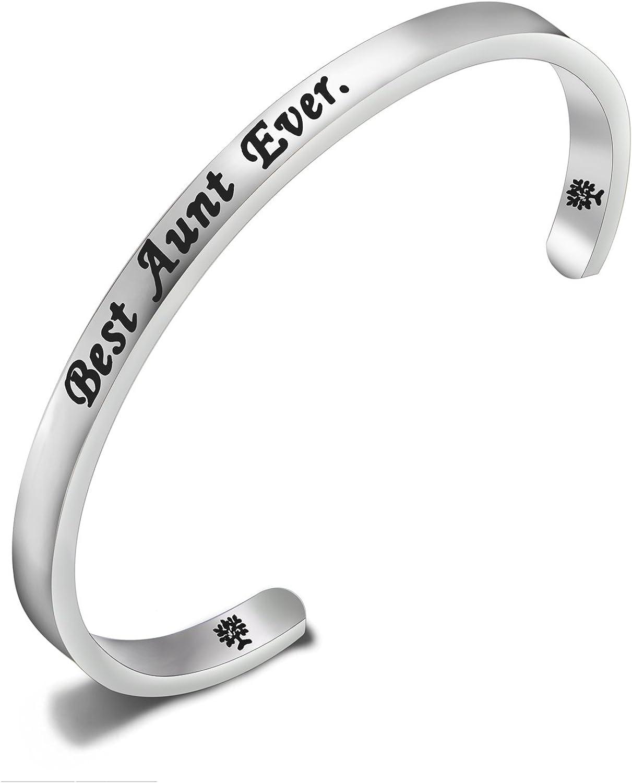 FEELMEM Gift for Aunt Best Aunt Ever Cuff Bangle Bracelet,Aunt J