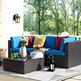 Homall 4 Pieces Patio Outdoor Furniture Sets, All Weather PE Rattan Wicker Sectional Sofa Modern Manual Conversation Sets with Cushions and Glass Table for Lawn Backyard Garden Poolside (Blue)