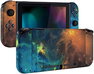 eXtremeRate Soft Touch Grip Back Plate for Nintendo Switch Console, NS Joycon Handheld Controller Housing with Full Set Bu...