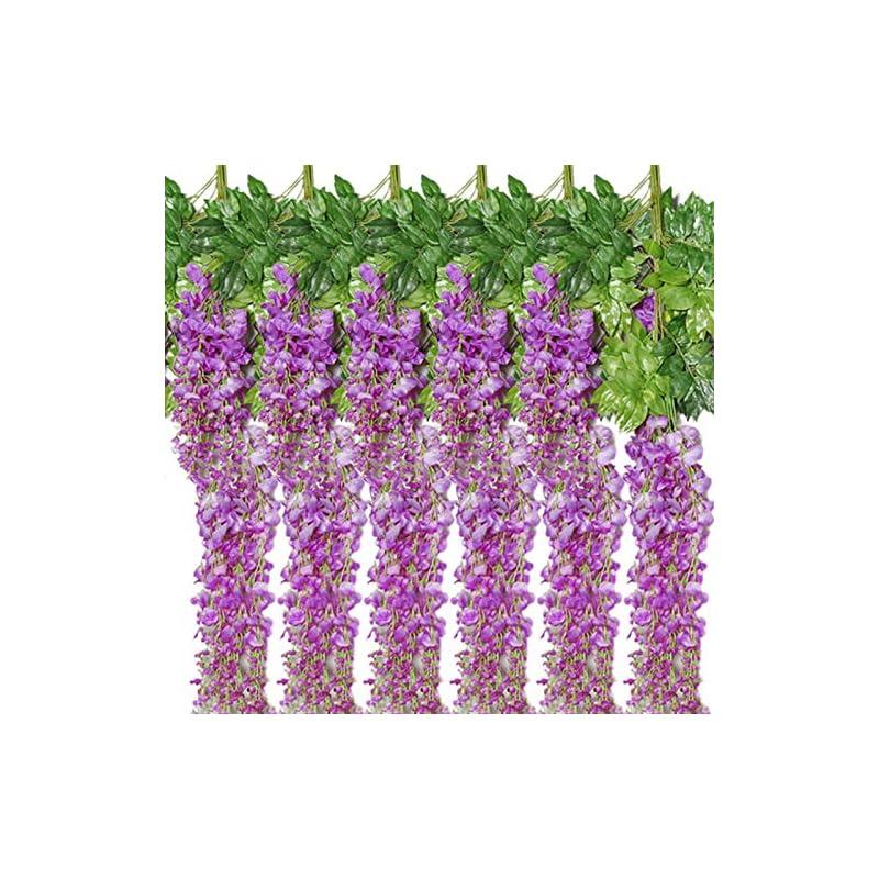 silk flower arrangements new ruicheng artificial flower, vine ratta hanging garland silk wisteria flowers purple string 12 pack set 3.6 feet fake flowers green leaves plastic plant string for home party garden wedding decor