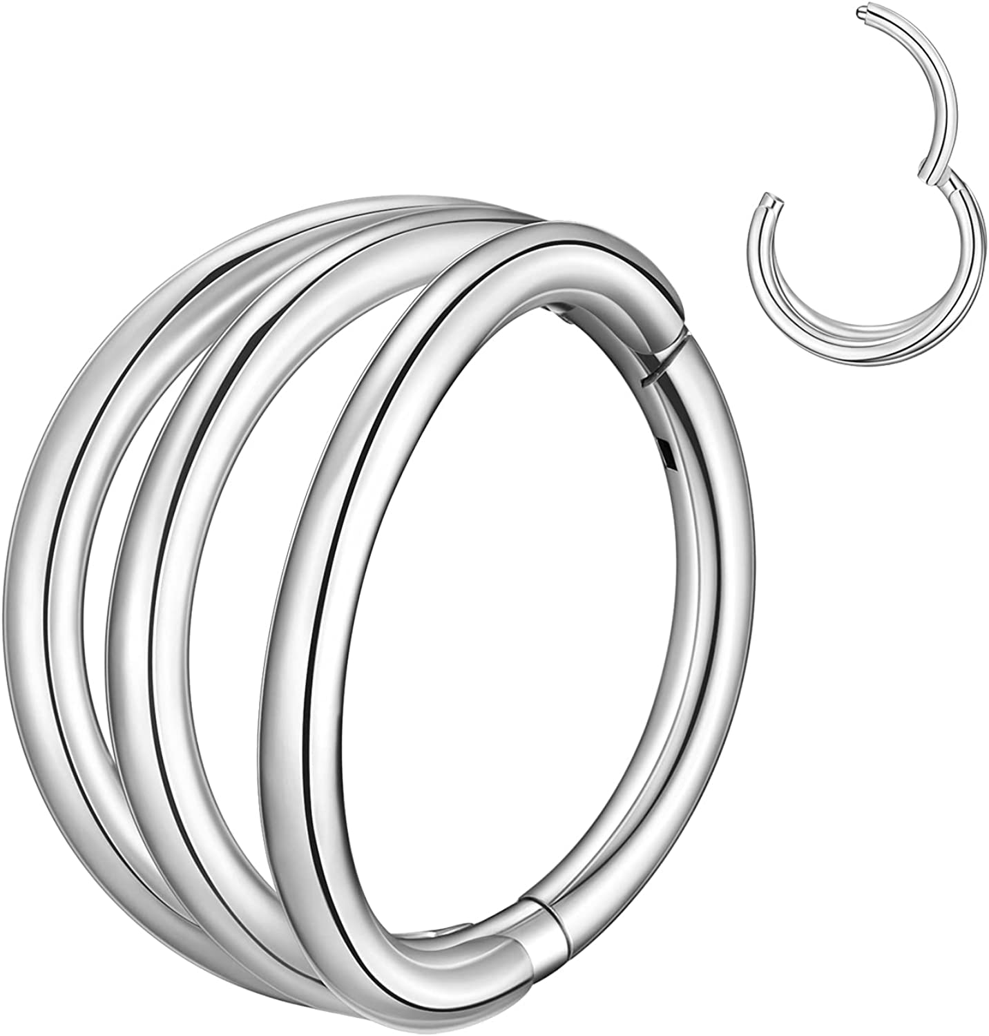 16G 18G Double Triple Open Stacked Hinged Segment Nose Rings Hoop Septum Clicker, 316L Surgical Steel Cartilage Earrings Conch Daith Helix Rook Ear Lobe Piercing Jewelry, Diameter 8mm 10mm 12mm