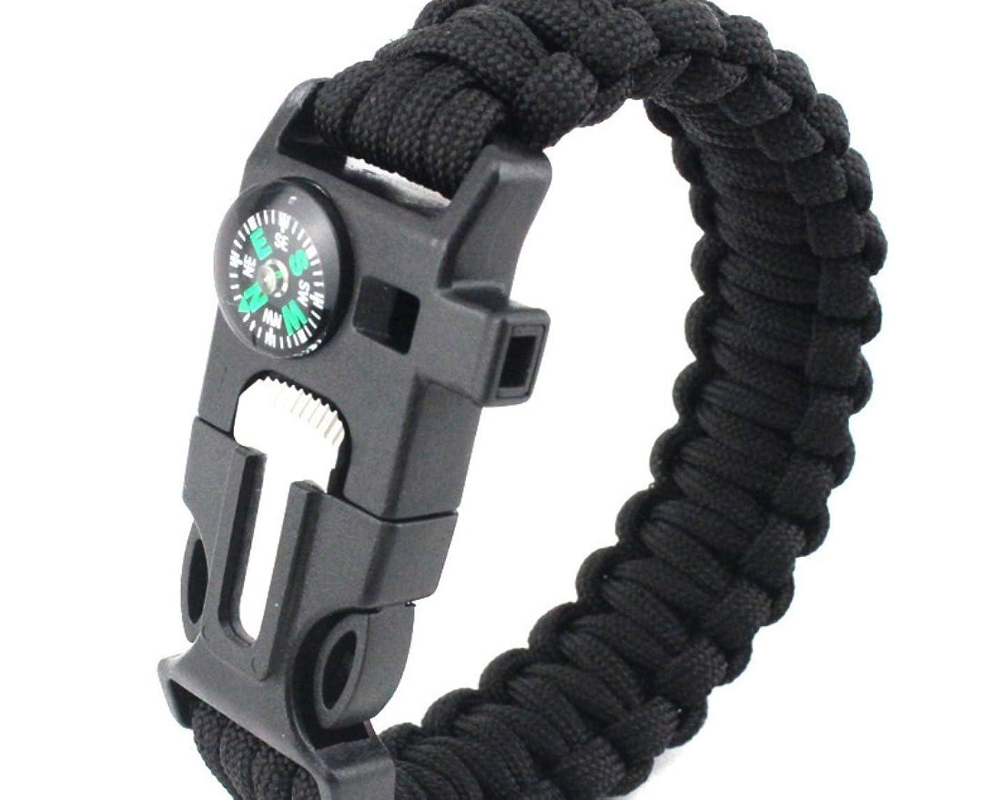 アンペア救援ドレスOYAN サバイバルブレスレット 多機能ブレスレット 笛、火打ち石、コンパス、スクレーパー 安全対策 登山 旅行 防災 救命縄 バックル (ブラック)