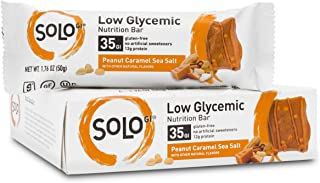 SoLo Peanut Caramel Sea Salt Nutrition Bar - Gluten Free, Low Glycemic with 12 grams of Protein, 1.76oz (50g) (1 Box of 6 Bars)