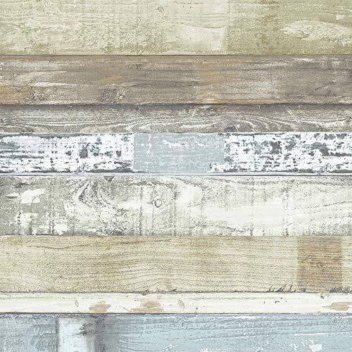 Norwall FH37555 Beachwood Prepasted Wallpaper, Green, Blue, Sage, Brown, Cedar