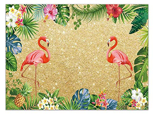 Allenjoy 7x5ft Tropical Golden Flamingo Backdrop Pineapple Palm Leaves Summer Aloha Theme Birthday Party Banner Hawaiian Floral Photography Background