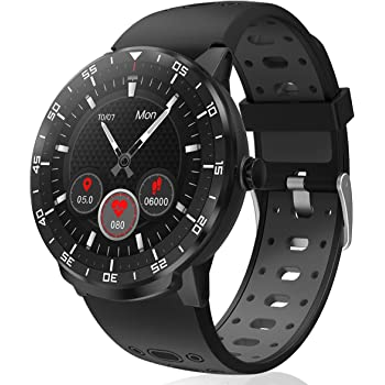 Smartwatch Reloj Inteligente, HopoFit HF06 Pantalla Táctil Completa Circular Impermeable Podómetro Pulsómetros, Monitor de Sueño, Notificación Llamada y Mensaje,para Andriod iOS,Hombres Mujeres(black): Amazon.es: Electrónica