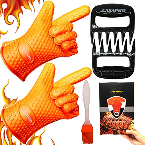 CASAPRO 5 piece Silicone Cooking Glove Meat Shredder - Including Heat Resistant Gloves, Solid Prong Meat Shredders and Silicone Basting Brush for Cooking, Grilling, Baking, Barbecue