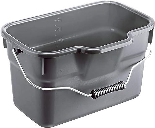 Rotho Basic Seau Carré de 12 l avec Anse et Balance, Plastique (PP) sans BPA, Anthracite, 12 l (38,0 X 26,0 X 23,0 cm)