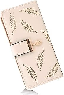 Women's Long Leather Card Holder Purse Zipper Buckle Elegant Clutch Wallet (Beige)