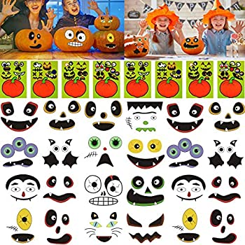 64 Packs Halloween Pumpkin Decorating Stickers 16 Sheet Pumpkin Face Stickers in 32 Designs for Halloween Party Supplies Trick or Treat Party Favors