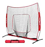 PowerNet 7x7 PRO Net with One Piece Frame (Red) | Baseball Softball Practice Net | Training Aid for Hitting Pitching Batting Fielding Portable Backstop | Bow Style Frame | Non-Tip Weighted Base