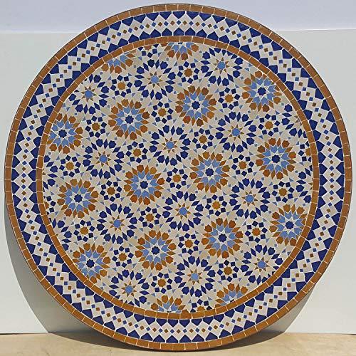 Casa Moro | Mesa de mosaico marroquí, 100 cm de diámetro, redonda, con armazón de 73 cm de altura, hecha a mano de Marrakech | Mediterránea mesa de jardín, mesa de comedor o balcón | MT2224
