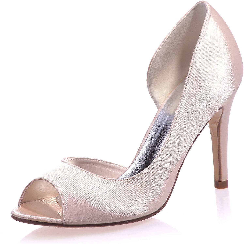 LLBubble Women Peep Toe High Heels Satin Wedding shoes Stiletto Bridal Pumps Formal Party Dress shoes 5623-16
