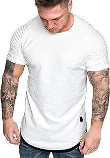 Short Sleeve Top for Mens Slim Fit Summer Fashion Pleats Raglan Hoodie T-Shirt Cotton Blouse