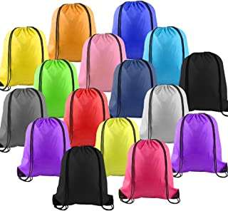 LUCWI 16Pcs Multicolor Drawstring Backpack, Sports Cinch Sacks String Backpack Bags for Traveling Gym Yoga Storage Gift