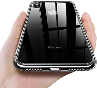 CAFELE TPU Frame Thin Slim Transparent Tempered Glass Back Anti-Scratch Non-Slip Cellphone Case Compatible with iPhone X