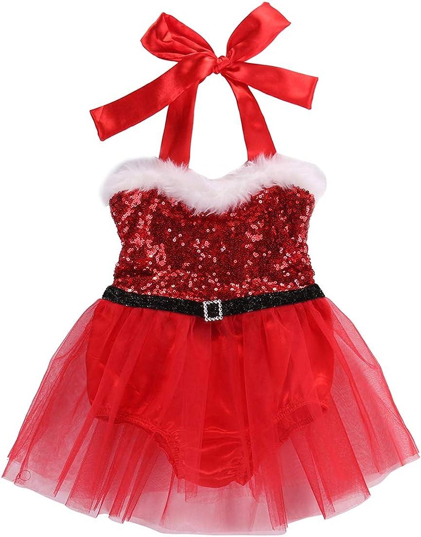 Toddler Baby Girl Christmas Santa Dress Red Velvet Princess Dress Fur Trim Party Dress Christmas Costume Outfit with Belt