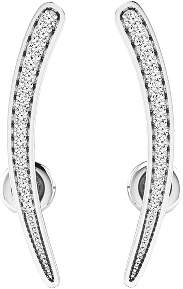 Dazzlingrock Collection 0.15 Carat (Ctw) 14K Gold Round Cut White Diamond Ladies Crawler Climber Earrings