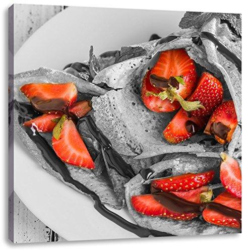 Pannenkoeken met aardbeienCanvas Foto Plein | Maat: 40x40 cm | Wanddecoraties | Kunstdruk | Volledig gemonteerd